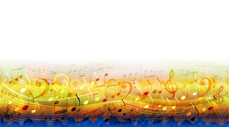 Abstract sheet music design background with musical notes Ilustracja