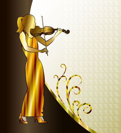 Musician. Violin player, girl playing classical violin illustration.
