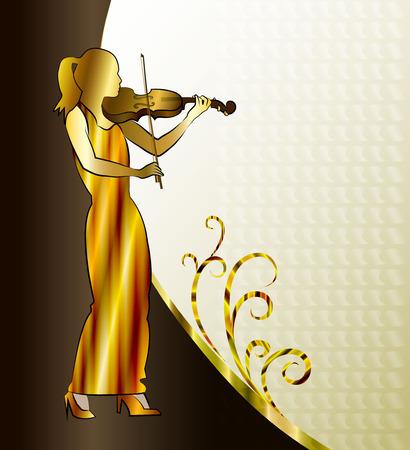 Musician. Violin player, girl playing classical violin illustration.