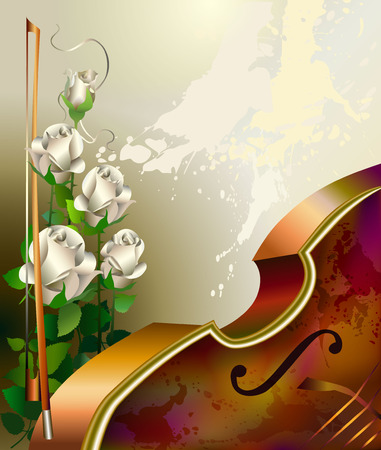 Classical music background with violin and white roses illustration.