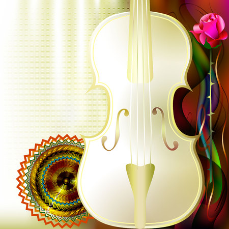 Classical music background with white violin, red roses and mandala. Ilustracja
