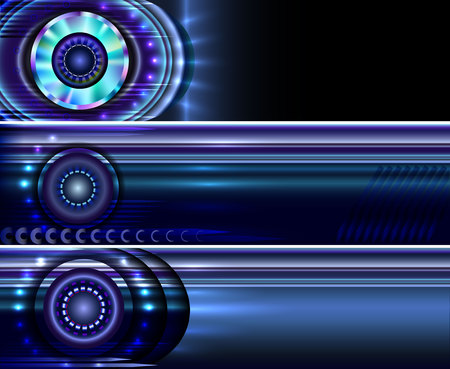 Set of abstract vector technology website banners, backgrounds, templates