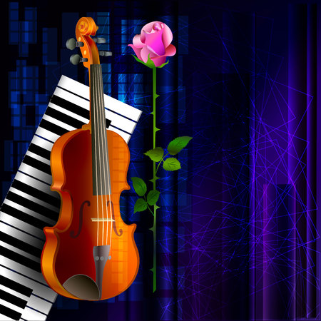 Music background with violin and piano keyboard