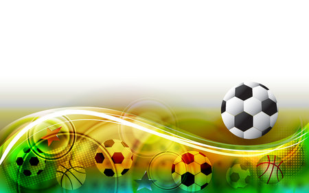 Abstract sports background with soccer ball. Football field illustration. Ilustracja