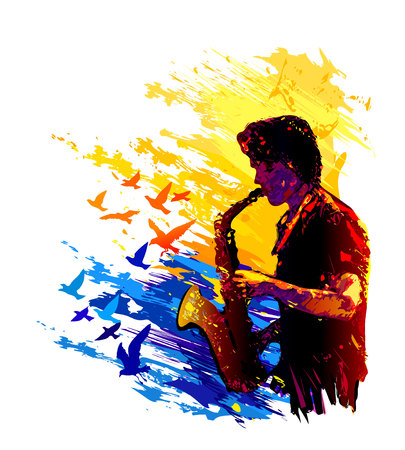 Saxophone player with flying birds illustration Vettoriali