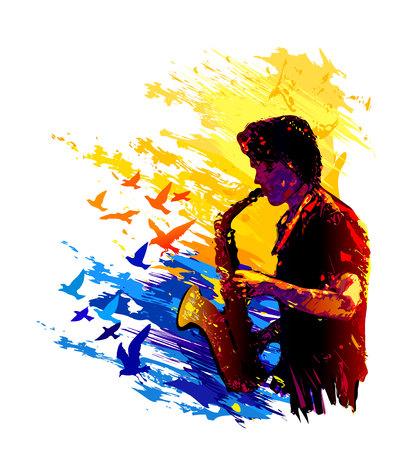 Saxophone player with flying birds illustration Illustration