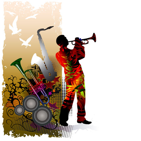Illustration of a trumpeter, music instruments and flying birds Ilustração