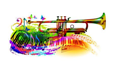 Fond de musique colorée, bannière avec trompette, piano, notes de musique et papillon. Vecteurs