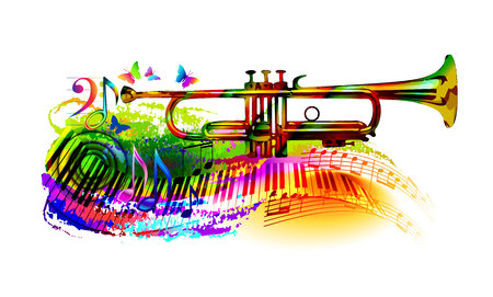 Colorful music background, banner with trumpet, piano, musical notes and butterfly.
