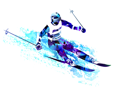 Winter sports of Skiing man isolated on plain background. Ilustracja