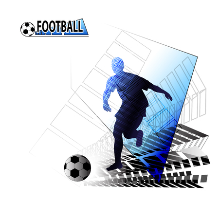 Football player running with the ball illustration on white background.