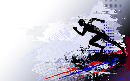 Running man sprinter in silhouette Illustration.
