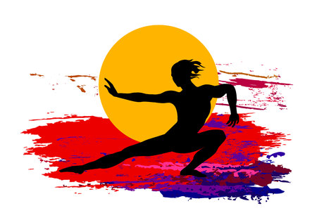 Martial arts concept, man in silhouette with colored background.