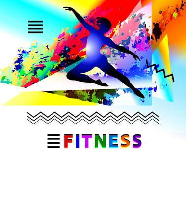 Ballet and fitness brochure template, person in silhouette illustration with colorful background. Ilustracja