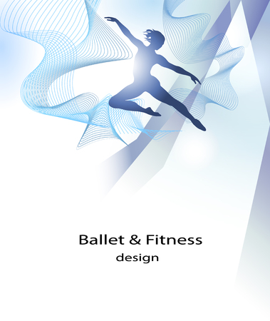 Ballet and fitness brochure template, with person in silhouette illustration