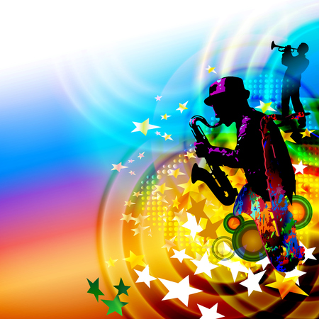 Jazz band music festival background with saxophone player Ilustracja