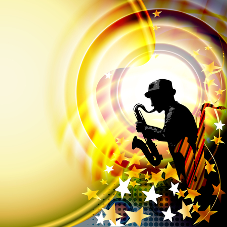 Jazz music festival background with saxophone player