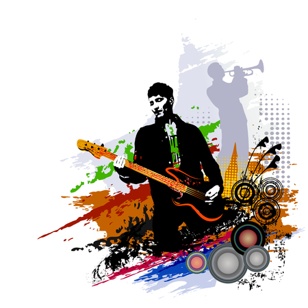 Musicians. Guitarist and trumpeter. Music background design