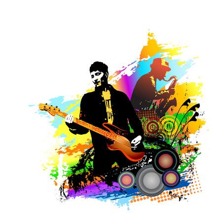 Músicos. Guitarrista, y, saxofon, player., Colorido, vector, ilustración