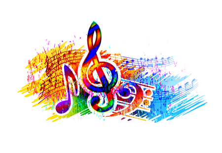 Music  festival background with music notes and treble clef
