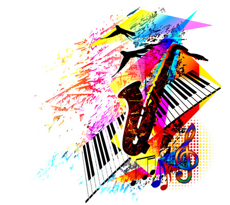 Digital painting, music background with saxophone, piano keyboard and flying birds