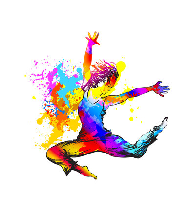 Break dance. Hip hop dancer teenager girl Ilustracja