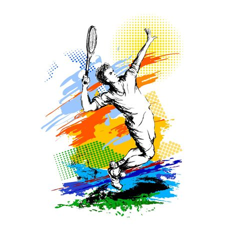 Tennis player. Healthy lifestyle. Hand drawn vector illustration, colourful painting