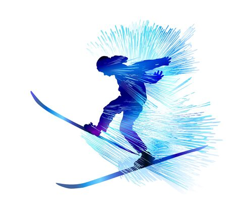 Extreme winter sport skiing snowboarding background Illustration