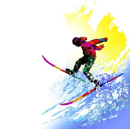 Fondo de snowboard de esquí de deporte de invierno extremo Ilustración de vector
