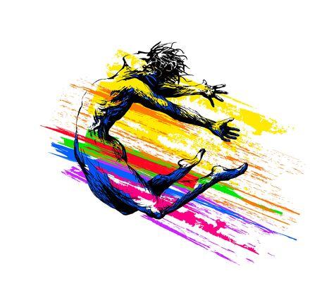 Break dance. Hip hop dancer jumping. Aerobics, acrobatics