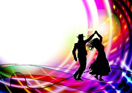 Paar Tänzer, Salsa tanzen. Vektor-Illustration