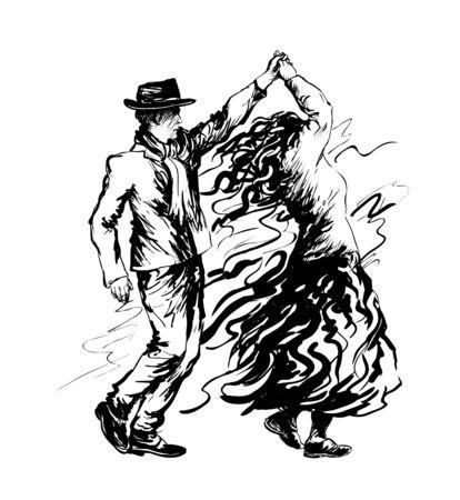 Couple of dancers, salsa dancing. Vector illustration Ilustracje wektorowe