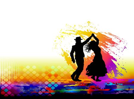 Couple of dancers, salsa dancing. Vector illustration