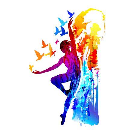 Tancerka baletowa z latającymi ptakami. Akrobata, gimnastyczka. Ilustracje wektorowe