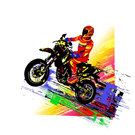 Motorcross rider. Colorful vector illustration Illustration