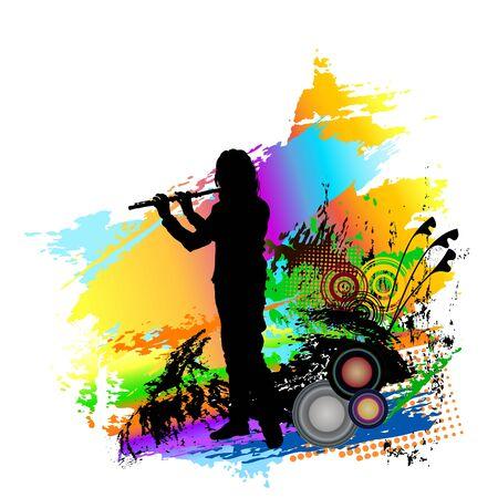 Flute player. Folk music festival background