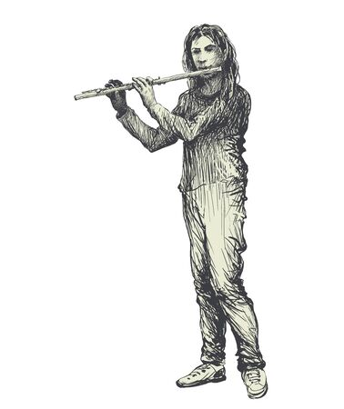 Flute player. Folk music festival hand drawn vector illustration