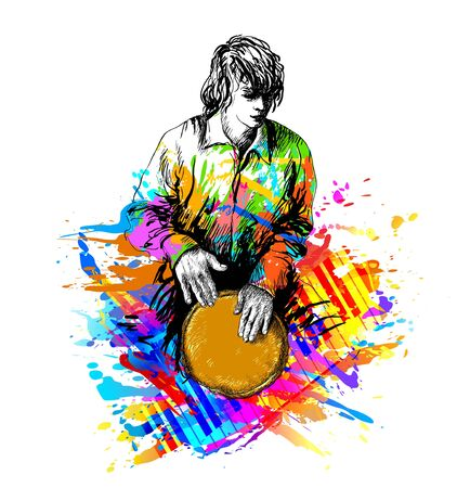 Man, drummer playing the djembe,  colorful vector illustration