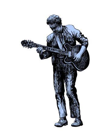 Guitar player. Music festival.  illustration Illustration
