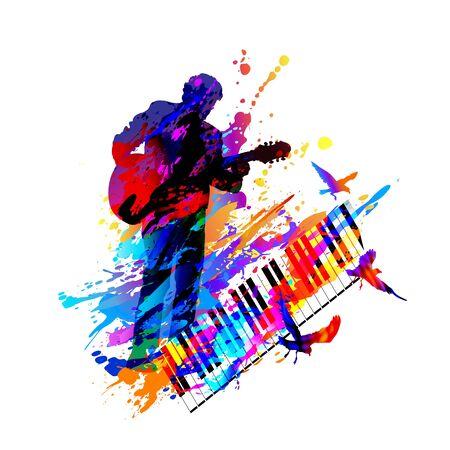 Guitar player. Music festival. Vector illustration Illustration