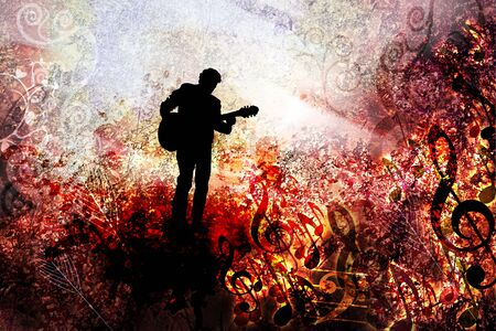 Music festival background for party, concert, jazz, rock festival design with musician, guitarist Stock fotó