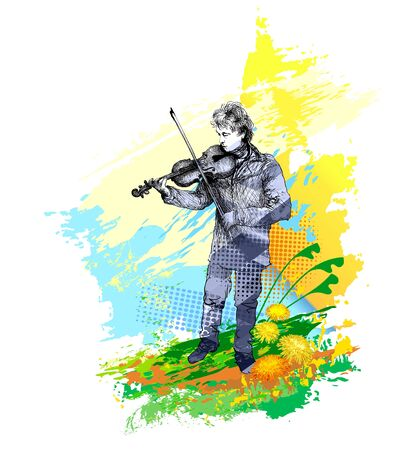 Violinist, classical music concert Illustration