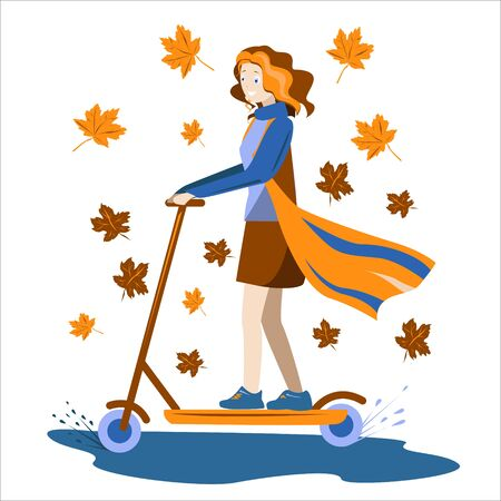 girl autumn rides a scooter