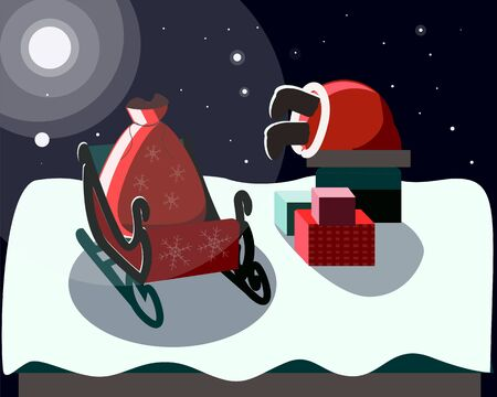Santa delivers gifts to children at Christmas Stock Illustratie