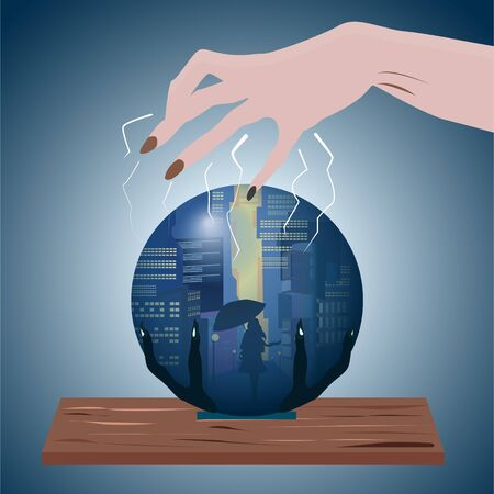 Fortune telling on a crystal ball by a fortune teller