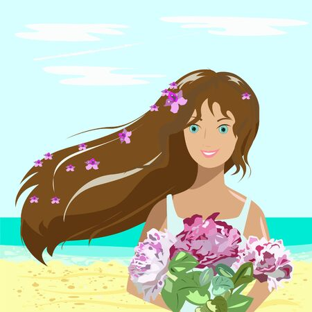 Girl with flowers on the beach by the sea. She stands and smiles, because she was given a beautiful bouquet.