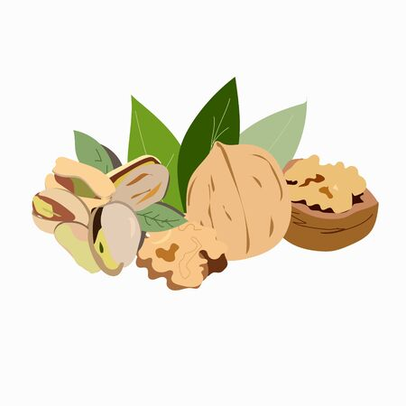 Walnuts and pistachios for a healthy snack