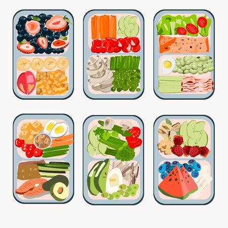 Lunchbox for proper nutrition or a healthy snack with vegetables, fruits and fish. Vector Illustration