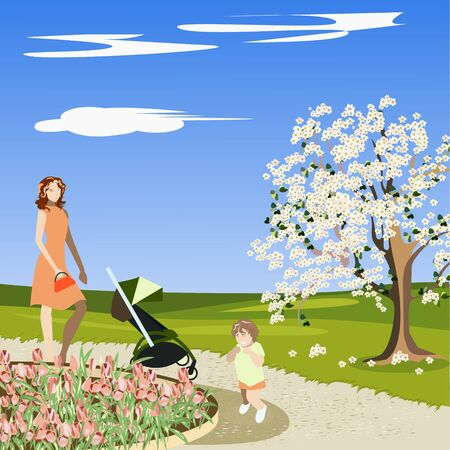 may outdoors with family and children Ilustrace