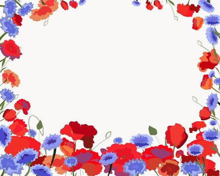 postcard with flowers of poppies and cornflowers